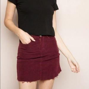 Red/maroon corduroy brandy Melville skirt